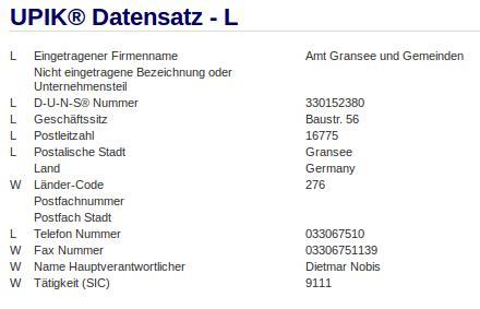 Firma: Amt Gransee und Gemeinden