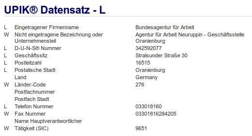 Firma: Agentur für Arbeit, Geschäftsstelle Oranienburg