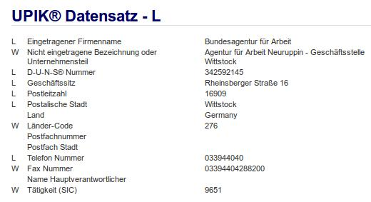 Firma: Agentur für Arbeit Neuruppin, Geschäftsstelle Wittstock