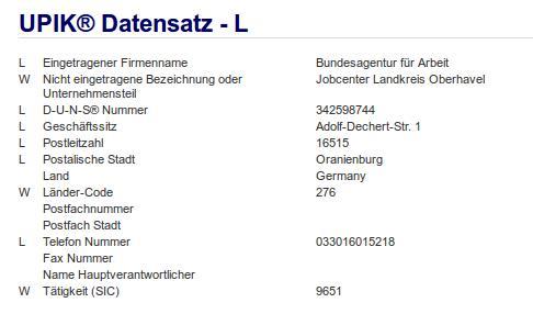 Teilfirma Jobcenter Landkreis Oberhavel