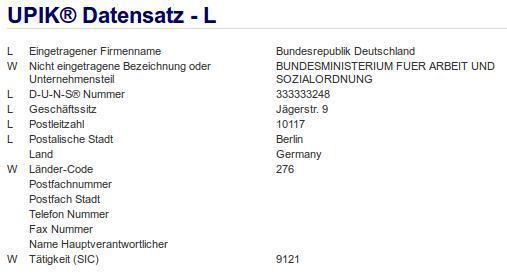 Firmenteil: Bundesministerium für Arbeit und Sozialordnung der Firma: Bundesrepublik Deutschland in Berlin