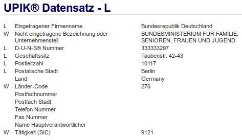 Firma: Bundesministerium für Familie, Senioren, Frauen und Jugend in Berlin