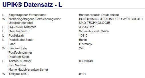 Firmenteil: Bundesministerium für Wirtschaft und Technologie der Firma: Bundesrepublik Deutschland in Berlin