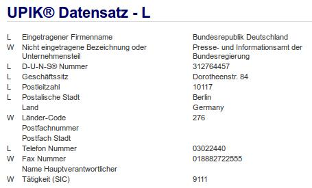 Firma: Bundesrepublik Deutschland in Berlin mit dem Presse- und Informationsamt der Bundesregierung