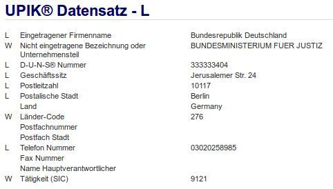 Firmenteil: Bundesministerium für Justiz der Firma: Bundesrepublik Deutschland in Berlin