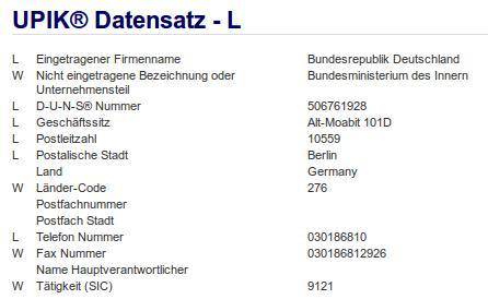 Firmenteil: Bundesministerium des Innern der Firma: Bundesrepublik Deutschland in Berlin