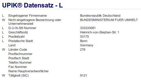 Firmenteil: Bundesministerium für Umwelt der Firma: Bundesrepublik Deutschland in Bonn