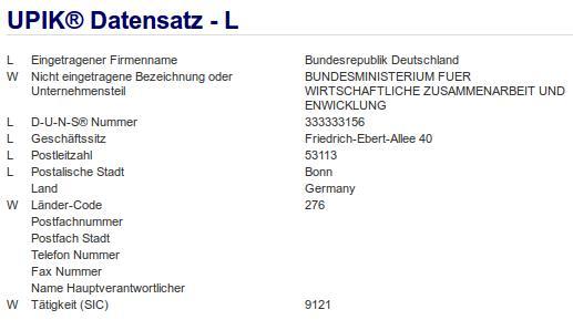 Firmenteil: Bundesministerium für Wirtschaftliche Zusammenarbeit und Entwicklung der Firma: Bundesrepublik Deutschland in Bonn