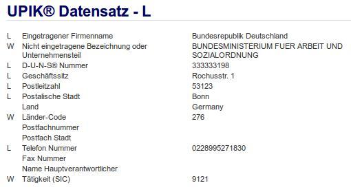 Firmenteil: Bundesministerium für Arbeit und Sozialordnung der Firma: Bundesrepublik Deutschland in Bonn