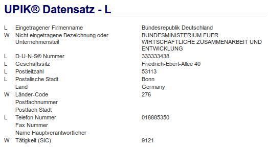 Firmenteil: Bundesministerium für Wirtschaftliche Zusammenarbeit und Entwicklung der Firma: Bundesrepublik Deutschland in Bonn Nr2