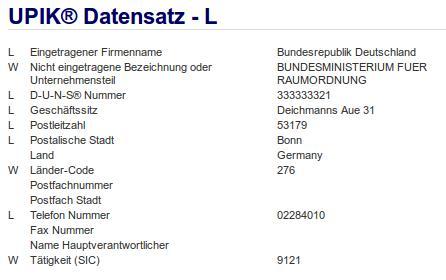 Firmenteil: Bundesministerium für Raumordnung der Firma: Bundesrepublik Deutschland in Bonn