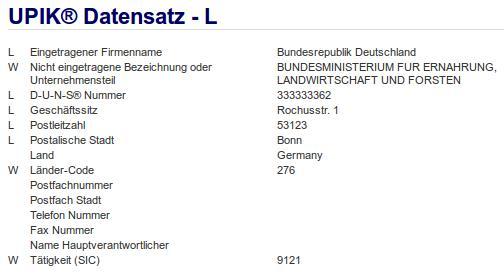 Firmenteil: Bundesministerium für Ernährung, Landwirtschaft und Forsten der Firma: Bundesrepublik Deutschland in Bonn