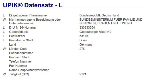Firma: Bundesministerium für Familie und Senioren, Frauen und Jugend in Bonn