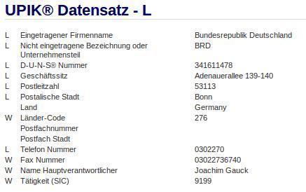 Firma: Bundesrepublik Deutschland in Bonn wieder mit dem Hauptverantwortlichen Gauck ( Zwei Firmen?)