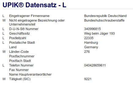 Firmenteil: Bundeshubschrauberstaffel der Firma: Bundesrepublik Deutschland in Hamburg