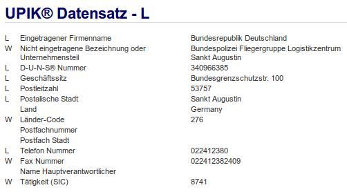 Firmenteil: Bundespolizei Fliegergruppe Logistikzentrum Sankt Augustin der Firma: Bundesrepublik Deutschland in Sankt Augustin