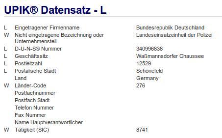 Firmenteil: Landeseinsatzeinheit der Polizei der Firma: Bundesrepublik Deutschland in Schönefeld Berlin