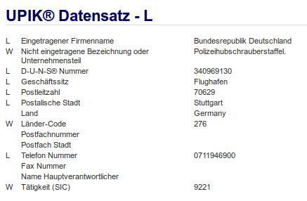 Firmenteil: Polizeihubschrauberstaffel der Firma: Bundesrepublik Deutschland in Schönefeld Stuttgart