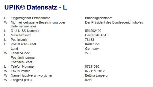 Firmenteil: Präsident des Bundesgerichtshofes der Firma: Bundesgerichtshof in Karlsruhe