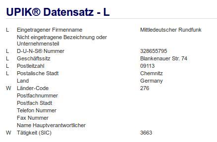 Firma: MDR in Chemnitz Nr1