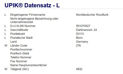 Firma: NDR in Bonn
