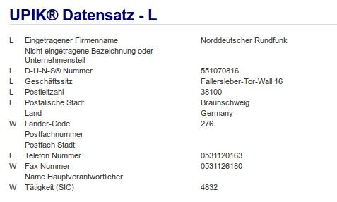 Firma: NDR in Braunschweig