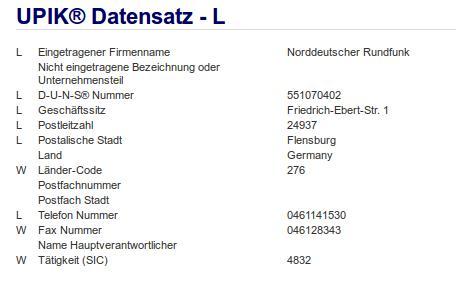 Firma: NDR in Flensburg