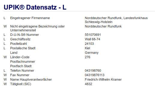 Firma: NDR in Kiel