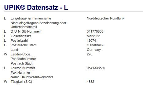 Firma: NDR in Osnabrück