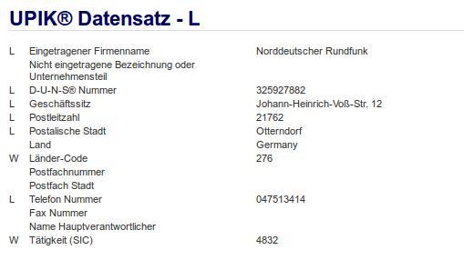 Firma: NDR in Otterndorf