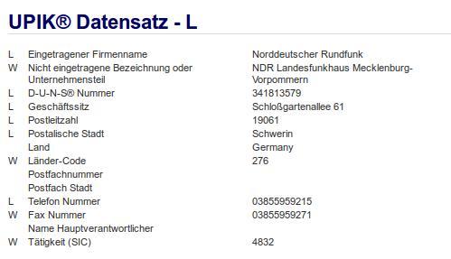 Firma: NDR in Schwerin