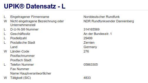 Firma: NDR in Zernien