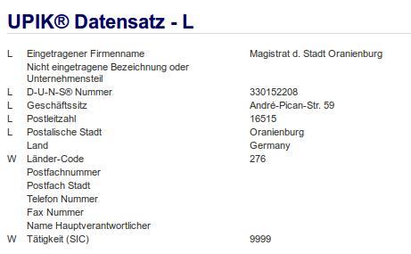 Firma: Magistrat d. Stadt Oranienburg