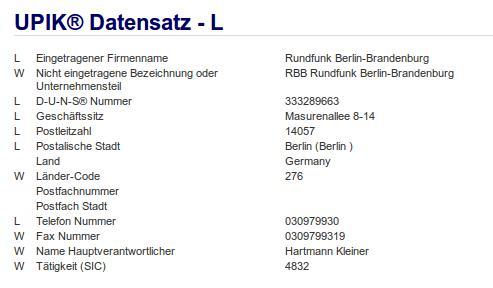 Firma: RBB Berlin