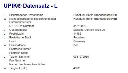 Firma: RBB Potsdam
