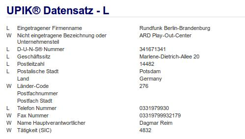 Firma: RBB Potsdam ARD
