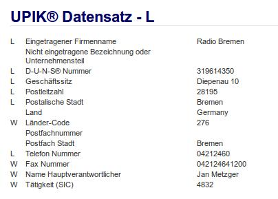 Firma: Radio Bremen in Bremen Nr1