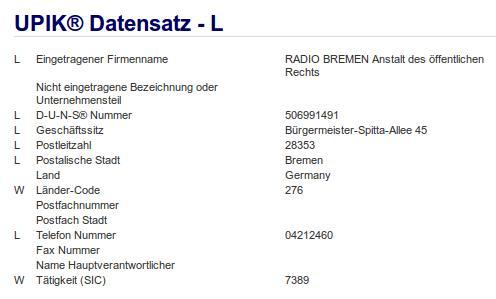 Firma: Radio Bremen in Bremen Nr2