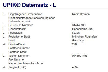 Firma: Radio Bremen in München Flughafen
