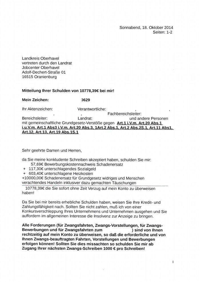 Schuldenforderung an den Landrat Oranienburg Nr1