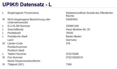 Firma: SWR in Baden-Baden