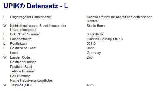 Firma: SWR in Bonn