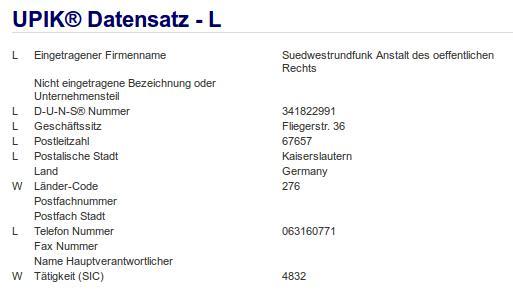 Firma: SWR in Kaiserslautern