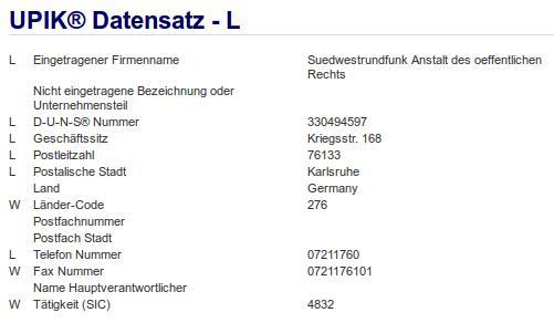 Firma: SWR in Karlsruhe
