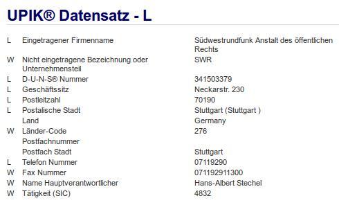 Firma: SWR in Stuttgart Nr2
