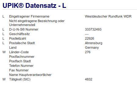 Firma: WDR in Ahrensberg