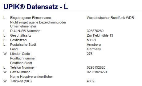 Firma: WDR in Arnsberg