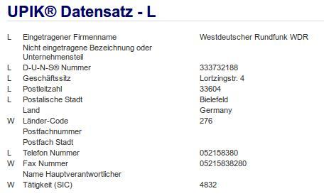 Firma: WDR in Bielefeld