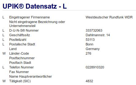 Firma: WDR in Bonn Nr1