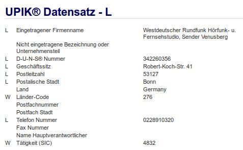 Firma: WDR in Bonn Nr2